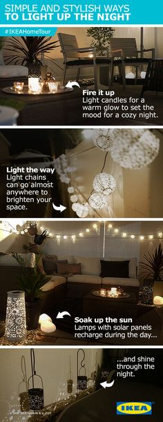 Light up your summer nights with lanterns, table lamps and more! The IKEA Home Tour Squad used solar-powered LED lighting in their outdoor lounge makeover to brighten up the space, while saving energy (and money)!