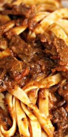 Spaghetti in Rich Braised Beef and Porcini Mushroom Ragù ...