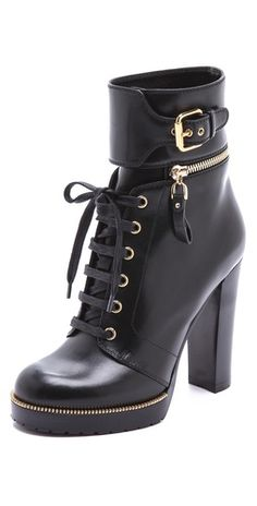 Sergio Rossi Leather and Rubber Heeled Booties | SHOPBOP