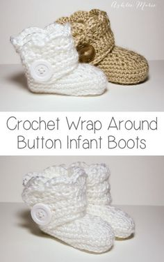 40+ Adorable and FREE Crochet Baby Booties Patterns --> Crochet Wrap Around Button Baby Boots for Girls and Boys