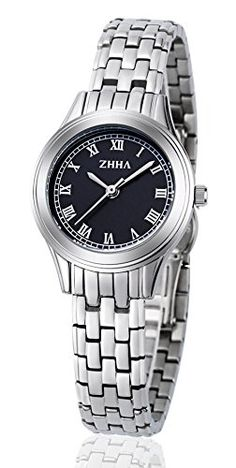 ZHHA Women's Watches 017 Quartz Black Dial Silver Stainless Steel Bracelet Wrist Watch Waterproof