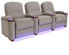 The Monroe Is A Beautiful Fabric Home Theater Seat With Lighted Cup Holders And Ambient Base