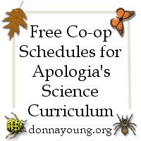 Free Schedules for Apologia's Science Books -  Both co-op and individual schedulesFree Printable Handwriting and Filler Paper- and other organizational pages and even scheduling charts... apologia science is already scheduled for example