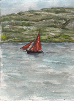 Galway Hooker by Fiona Concannon on ArtClick.ie Irish Seascape Watercolour Art Galway Watercolour Art, Ireland, Irish, Boat, Irish Language, Boats