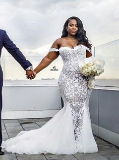 Mermaid Wedding Dresses 2019 Modest Plus Size Off Shoulder Trumpet Bridal Gowns Sweep Train Tulle Lace African Wedding Dress Custom Made - Summer Wedding Wedding Dresses Plus Size, Plus Size Wedding, Bridal Dresses, Wedding Gowns, Wedding Venues, Wedding Hijab, Chapel Wedding, Destination Wedding, Wedding Suits