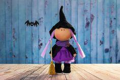 Witch doll Gala. Halloween doll. Tilda doll. Textile by OwlsUa