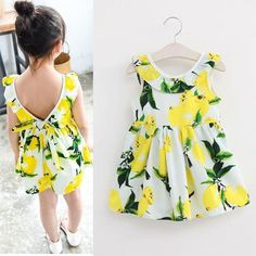 Girls Lemon Dress V-back Ruffles Bowknot