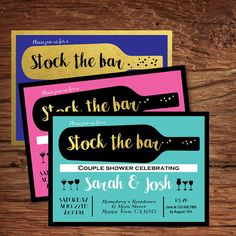 Get This Modern Chic Stock The Bar / Housewarming Invitation With Bold  Colors! 3 Color