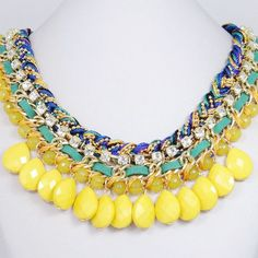New Yellow Drop Bubble Statement Necklace by BellaJewelry4u, $15.99