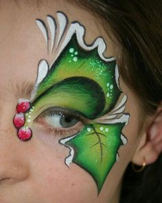 seasonal- Christmas- eye light- Holly Christmas face paint idea for thr eye area. Christmas Face Painting, Christmas Paintings, Eye Painting, Face Painting Designs, Painting Patterns, Butterfly Face Paint, Cheek Art, Face Paint Makeup, Face Design