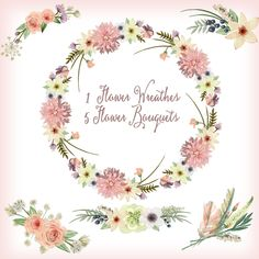"3.5 USD  Watercolor hand painted floral frames clipart: ""FLORAL WREATHS"" pink flowers clipart wedding clipart DIY invite greeting card floral clipart hand painted"