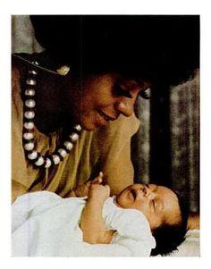 Newborn Tracee Ellis Ross with proud mama Diana Ross