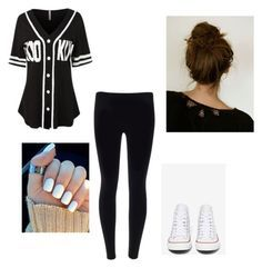"""Hip hop dance outfit!"" by caylatorres ❤ liked on Polyvore featuring LE3NO and Converse"