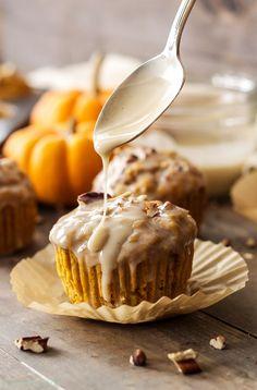 Pumpkin Pecan Muffins with Bourbon Maple Glaze | These aren't your average pumpkin muffins! The bourbon maple glaze puts them over the top!