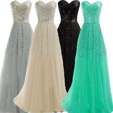 Sexy Women Lady Strapless Evening Party Formal Full Dress Bridesmaid Gown Dress