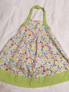 Gymboree Size 6 Dress Girls White Green Apples & Flowers Sundress Summer #Gymboree #Dress #DressyEverydayHolidayParty