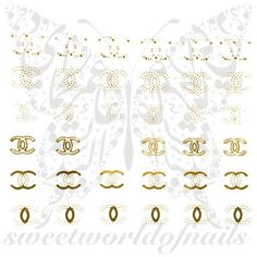 Celebrity Nail Art Gold CC Nail Water Decals Water Slides