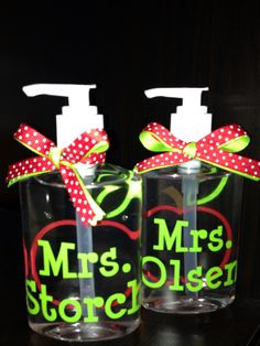 Hand sanitizer as teacher gifts... Personalized with vinyl - names and a cute apple :-)