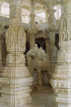 Jain Temple -- Carved Marble Pillars and Elephant -- Ranakpur, Pali district, Rajasthan, India