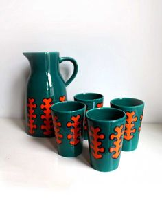 Seventies Ceramic Pitcher/Jug and 4 Cups. Jade Green and Orange Stylized Tree Motif