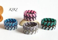 Beaded ring, peyote ring, seedbead arrow patterned ring with fashionable vivid…