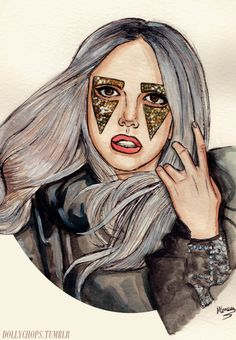 Gaga Grey Blonde by Helen Green Lower East Side, Queen, Helen Green, The Fame Monster, Grey Blonde, Lady Gaga Pictures, Monster Drawing, Green Pictures, Cartoon Painting