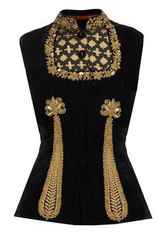 Black embroidered velvet waistcoat available only at Pernia's Pop-Up Shop.