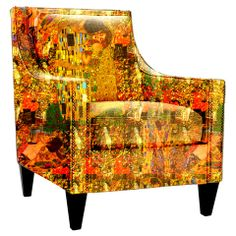 Gustav Klimt painting recreated on this chair. One of my favourite artists for his use of colour and pattern.