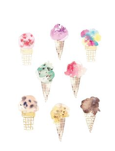 Eight happy ice cream cones! Even done in watercolor they look so tempting.