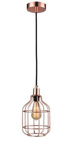 Függőlámpa: ajánlott izzó: 1x max. 60 W,E27, fém, réz szín, állítható magasság, kb. 14/14/110cm