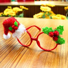 Christmas Kids Glasses Ornament Santa Claus Deer Snowman Cartoon Xmas Festival Party DIY Supplies Child Gifts 2017 #DIYChristmasGifts