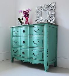 vintage teal dresser, distressed to show black underneath @Laurie Hamilton Page