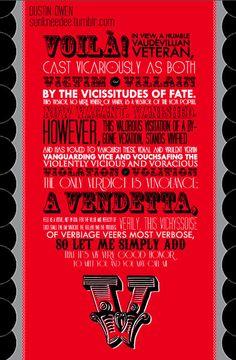 """V for Vendetta! Gotta love the Letter """"V"""""""