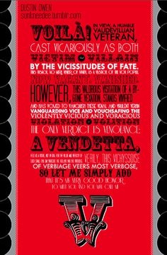 "V for Vendetta! Gotta love the Letter ""V"""