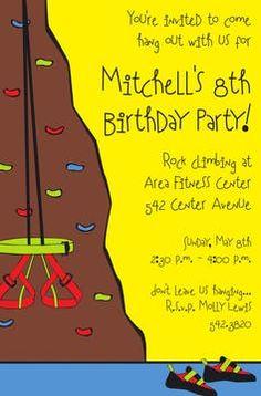 Kids Birthday Invitations - partyinvitations.com Birthday Invitations Kids, Youre Invited, Free Paper, Rock Climbing, Invitation Design, Card Stock, Climbing, Paper Board, Top Roping