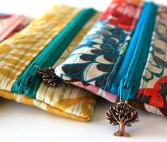 Cute and easy little pouches for pencils, makeup, or anything!!  The key is finding awesome fabric!