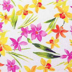 Orange and Pink Tropical Floral on White Cotton Ribbed Knit :: $5.25