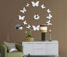 Toprate(TM) Silver Beautiful Butterfly Circle Round Wall Clock Mirror Wall Clock Fashion Modern Design Removable DIY Acrylic 3D Mirror Wall Decal Wall Sticker Decoration => Additional details found at the image link  : home diy wall