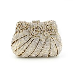 BL007 rose flower shape Luxury crystal Clutch bags bling rhinestone evening bags Gold women evening clutch bags party bag - HandBagList