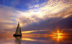 Sailing with a beautiful sunset. Free art print of Sailing and sunset. Sail World, Honfleur, Sailing Trips, Sailing Outfit, Photos Voyages, Sail Away, Sunset Beach, Sunset Gif, Mountain Sunset