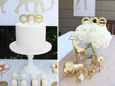Sweet Little Peanut | gold and white safari themed first birthday party. love the gold painted safari animal figures!