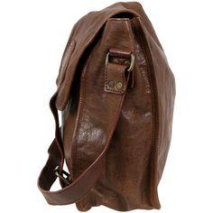 VIPARO Tan 13 Inch Vintage Wash Leather Satchel Messenger Bag - Gustaf ($205) ❤ liked on Polyvore