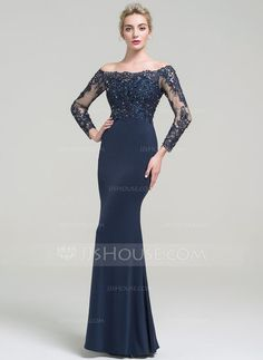 [US$ 117.49] Trumpet/Mermaid Off-the-Shoulder Floor-Length Jersey Evening Dress With Beading Sequins