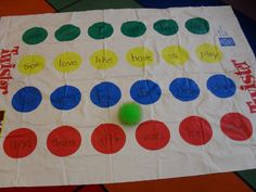 {Just image} Super easy center idea. Sight Word Twister.