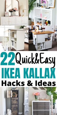 22 of the Best IKEA Kallax hacks for your bedroom, kitchen, and entryway. These mid century KALLAX hacks are great for your TV stands, bench top, desk, and office table. Ikea Kallax Hack, Best Ikea, Office Table, Organizing Your Home, Tv Stands, Easy Projects, Kitchen Storage, Diy Home Decor, Home Improvement