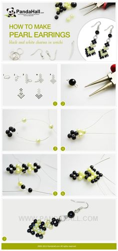 It is a free tutorial about how to make pearl earrings; I will show you an easy way to make a pair of weichi pattern earrings with simple black and white pearl beads. by benita