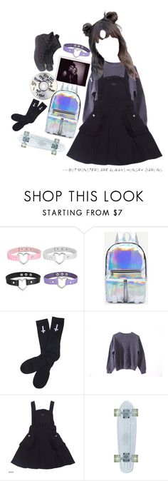 """I still wanna be punk"" by lilmrsmocha ❤ liked on Polyvore featuring WithChic, Abandon Ship and Converse"