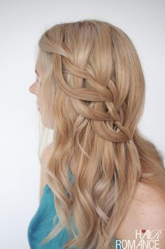 For a more relaxed prom hairstyle, give this loop waterfall braid a try. The loose style turns your hair into the center of attention.