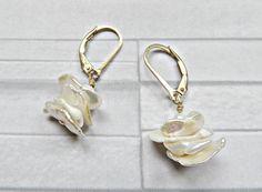 Keshi pearl earrings Cultured pearl earrings Gold by AllthingsBAB