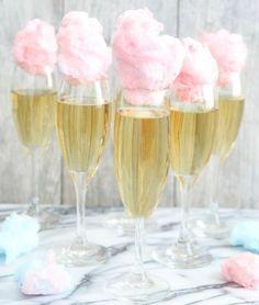 drink de champagne com algodão doce